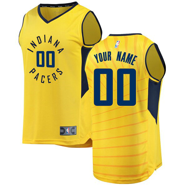 Maillot Indiana Pacers Statement Edition Custom 0 Homme Jaune