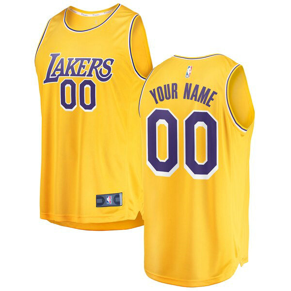 Maillot Los Angeles Lakers 2018-2019 Icon Edition Custom 0 Homme Jaune
