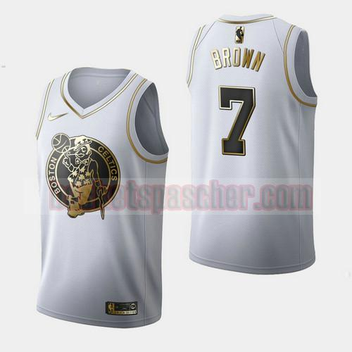 Maillot Boston Celtics Golden Edition Jaylen Brown 7 Homme Blanc