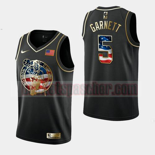 Maillot Boston Celtics Independence Day Golden Edition Kevin Garnett 5 Homme Noir