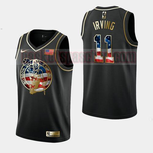 Maillot Boston Celtics Independence Day Golden Edition Kyrie Irving 11 Homme Noir