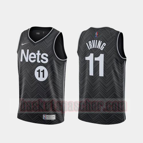Maillot Brooklyn Nets 2020-21 Earned Edition Kyrie Irving 11 Homme Noir