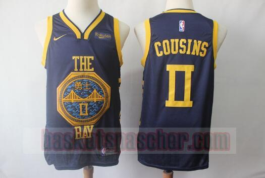 Maillot Golden State Warriors Édition City Swingman DeMarcus Cousins 0 Homme Bleu marin