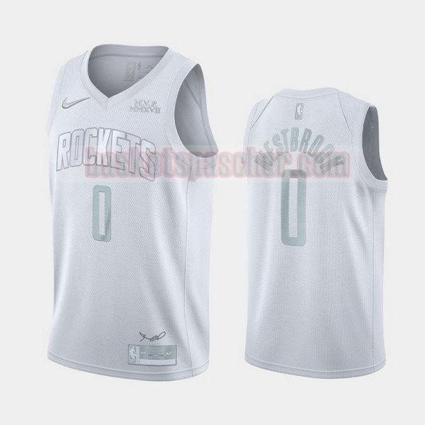 Maillot Houston Rockets MVP Russell Westbrook 0 Homme blanc
