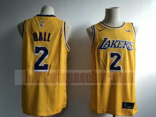Maillot Los Angeles Lakers Basket-ball 2019 Lonzo Ball 2 Homme Jaune