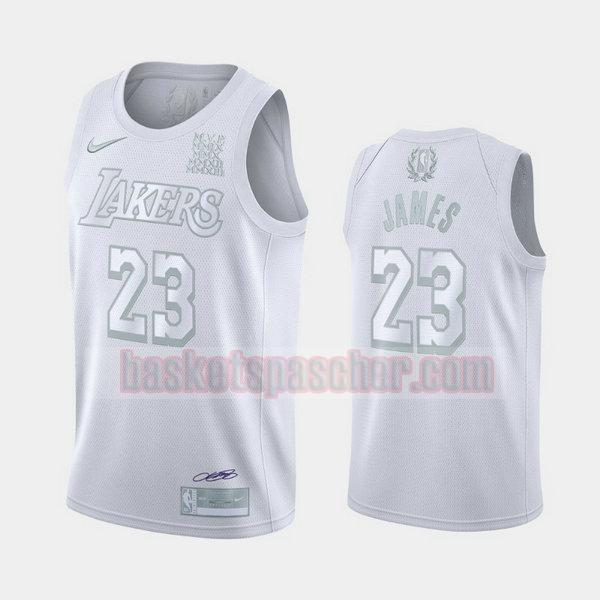 Maillot Los Angeles Lakers MVP Lebron James 23 Homme blanc