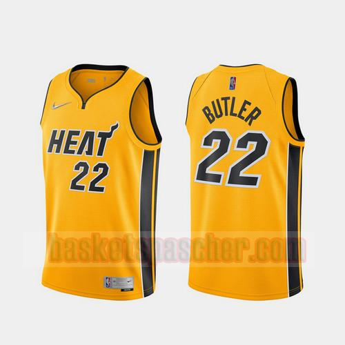 Maillot Miami Heat 2020-21 Earned Edition Jimmy Butler 22 Homme Jaune