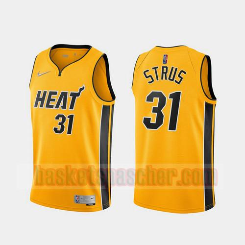 Maillot Miami Heat 2020-21 Earned Edition Max Strus 31 Homme Jaune