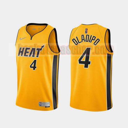 Maillot Miami Heat 2020-21 Earned Edition Victor Oladipo Heat 4 Homme Jaune