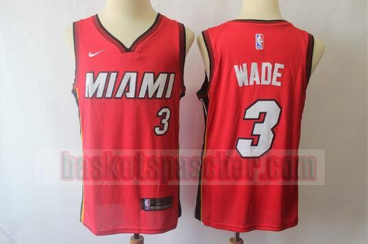 Maillot Miami Heat Basketball Authentic Wade 3 Homme Rouge