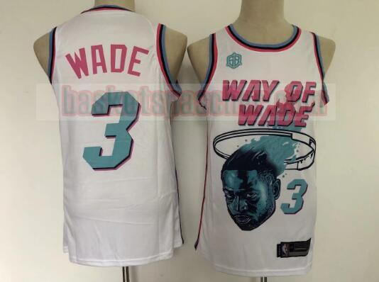 Maillot Miami Heat Basketball pas cher Dwyane Wade City 3 Homme Blanc