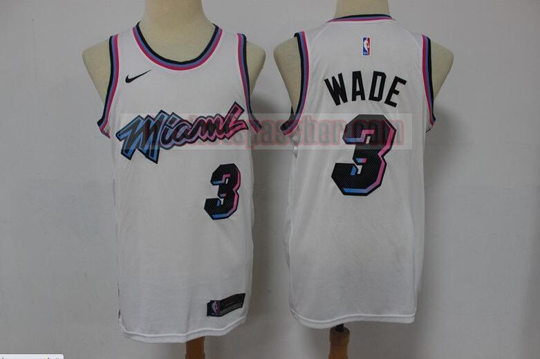 Maillot Miami Heat Dwyane Wade City 3 Homme Blanc