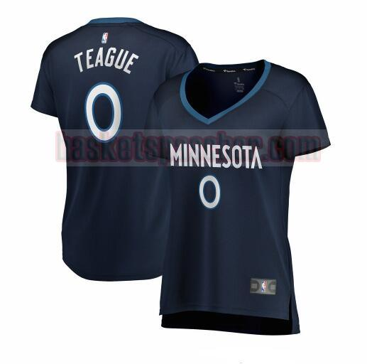 Maillot Minnesota Timberwolves icon edition Jeff Teague 0 Femme Bleu marin