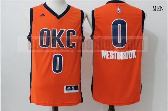 Maillot Oklahoma City Thunder Retour Russell Westbrook 0 Homme Orange