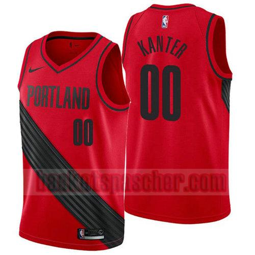 Maillot Portland Trail Blazers 2017-18 Enes Kanter 0 Homme Rouge