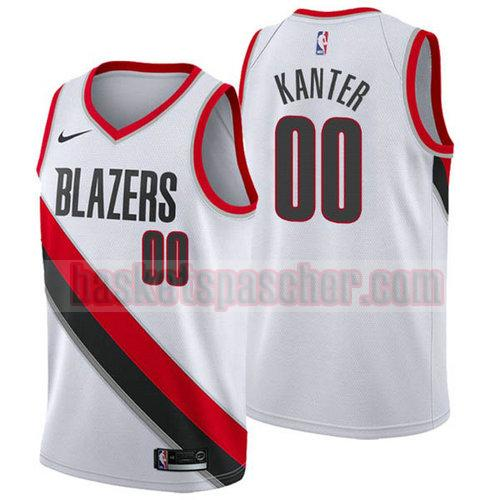 Maillot Portland Trail Blazers 2017-18 Enes Kanter 0 Homme blanc