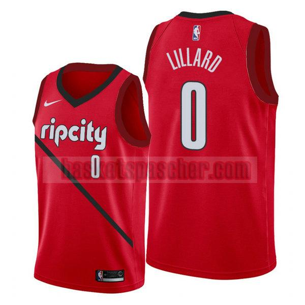 Maillot Portland Trail Blazers 2019-2020 Damian Lillard 0 Homme Rouge