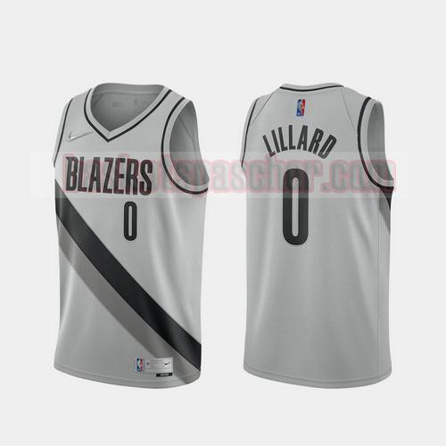 Maillot Portland Trail Blazers 2020-21 Earned Edition Damian Lillard 0 Homme gris