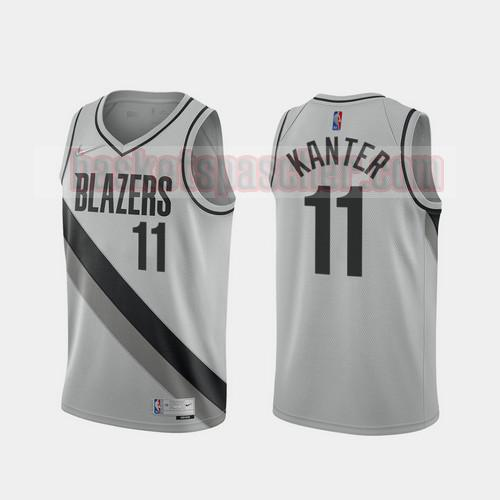 Maillot Portland Trail Blazers 2020-21 Earned Edition Enes Kanter 11 Homme gris