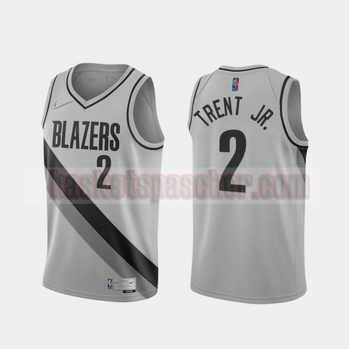 Maillot Portland Trail Blazers 2020-21 Earned Edition Gary Trent Jr. 2 Homme gris