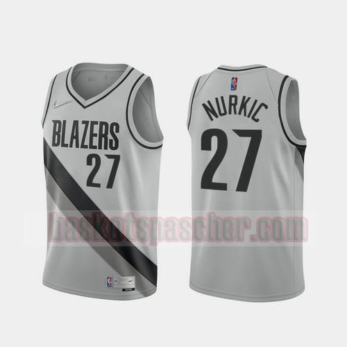 Maillot Portland Trail Blazers 2020-21 Earned Edition Jusuf Nurkic 27 Homme gris