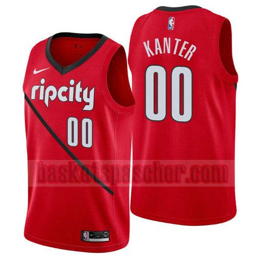 Maillot Portland Trail Blazers Earned 2019 Enes Kanter 0 Homme Rouge