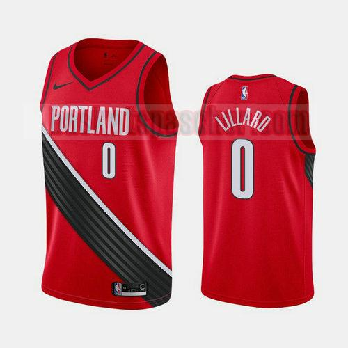 Maillot Portland Trail Blazers déclaration Damian Lillard 0 Homme Rouge