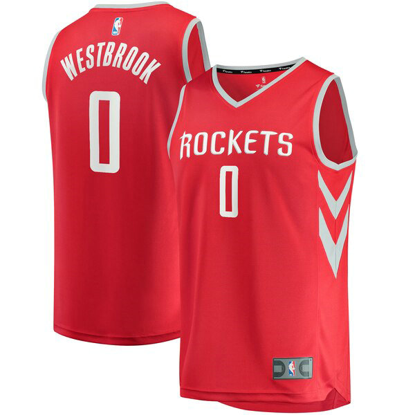 Maillot Houston Rockets Icon Edition Russell Westbrook 0 Homme Rouge