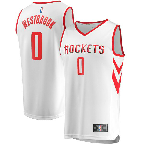 Maillot Houston Rockets Association Edition Russell Westbrook 0 Homme Blanc