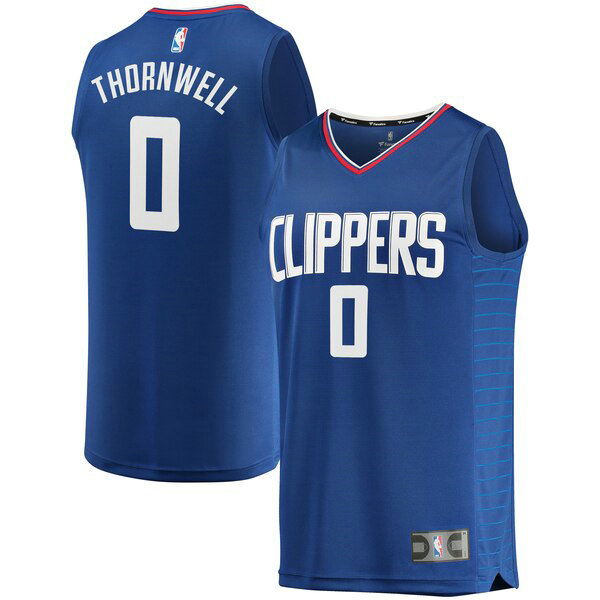 Maillot Los Angeles Clippers Icon Edition Sindarius Thornwell 0 Homme Bleu