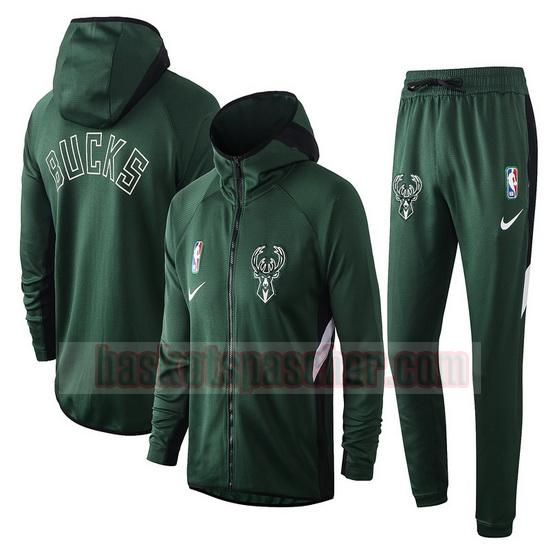 Survetement Milwaukee Bucks nba Showtime Nike Homme Vert