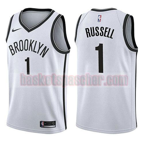 maillot brooklyn nets association 2017-18 D'angelo Russell 1 homme blanc