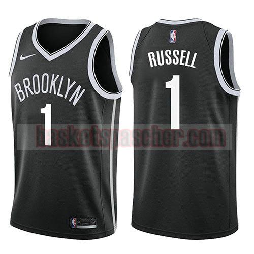 maillot brooklyn nets icône 2017-18 D'angelo Russell 1 homme noir