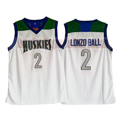 maillot huskies Lonzo Ball 2 homme blanc