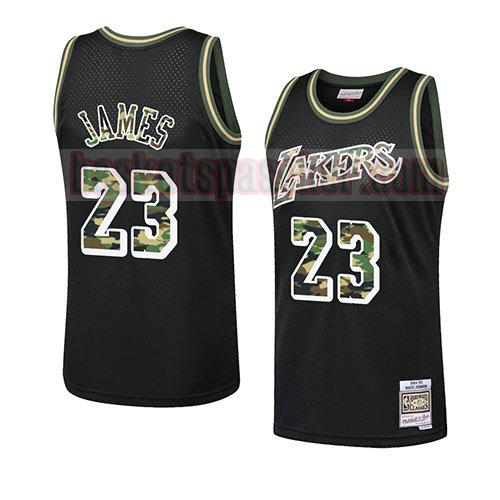 maillot los angeles lakers camouflage Lebron James 23 homme noir