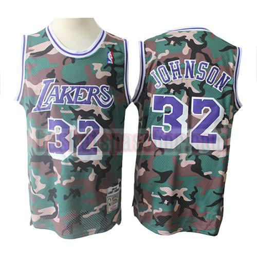 maillot los angeles lakers camouflage Magic Johnson 32 homme verde