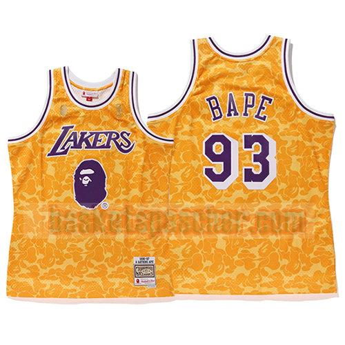 maillot los angeles lakers mitchell & ness Bape 93 homme jaune