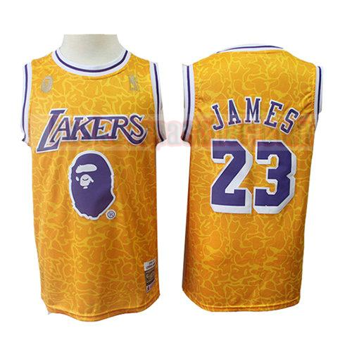 maillot los angeles lakers mitchell & ness Lebron James 23 homme jaune