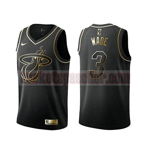 maillot miami heat golden edition Dwyane Wade 3 homme noir