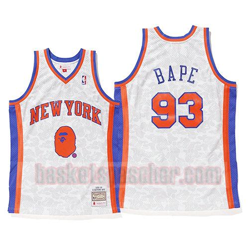 maillot new york knicks mitchell & ness Bape 93 homme blanc