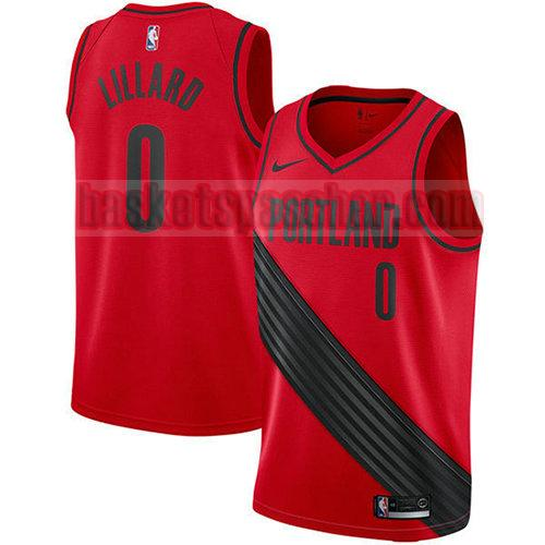 maillot portland trail blazers 2017-18 Damian Lillard 0 homme rouge