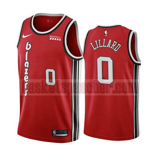 maillot portland trail blazers classic 2019-20 Damian Lillard 0 homme rouge