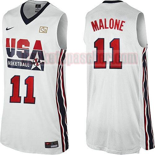 maillot usa 1992 Karl Malone 11 homme blanc