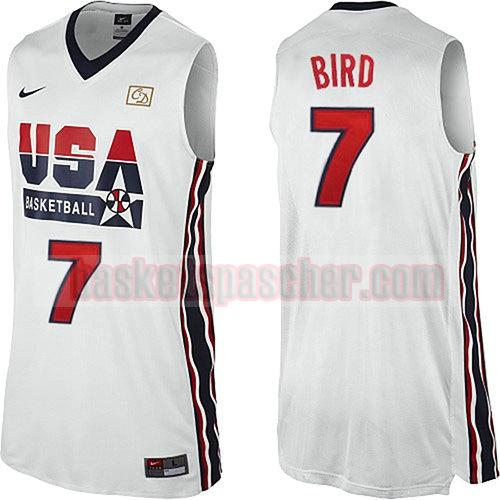 maillot usa 1992 Larry Bird 7 homme blanc