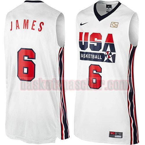 maillot usa 1992 Lebron James 6 homme blanc
