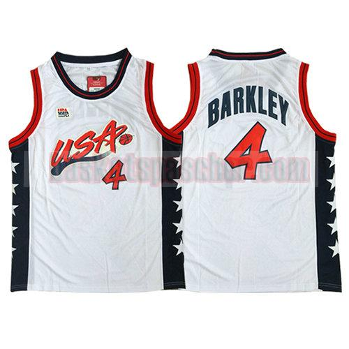 maillot usa 1996 Charles Barkley 4 homme blanc