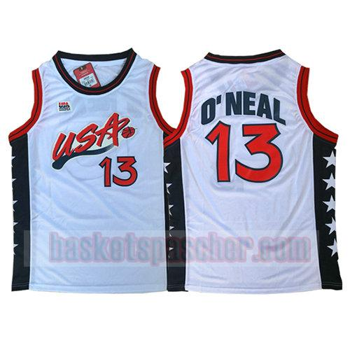 maillot usa 1996 Shaquille O'Neal 13 homme blanc
