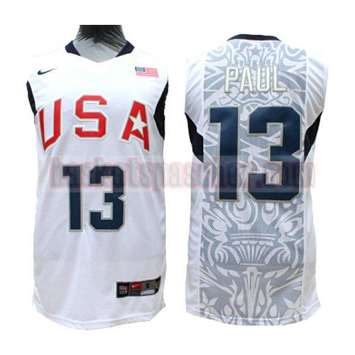 maillot usa 2008 Paul 13 homme blanc