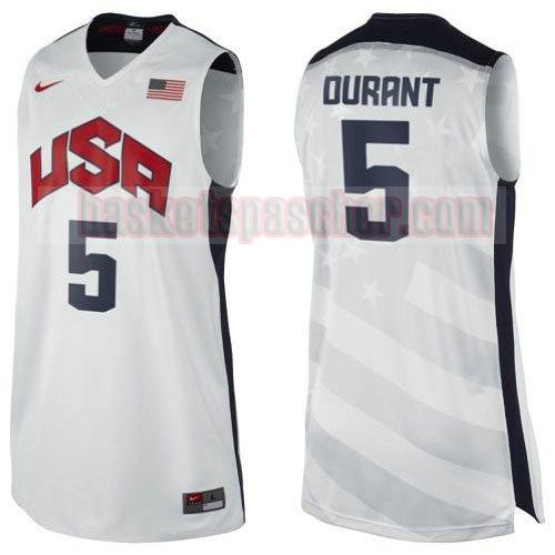 maillot usa 2012 Kevin Durant 5 homme blanc
