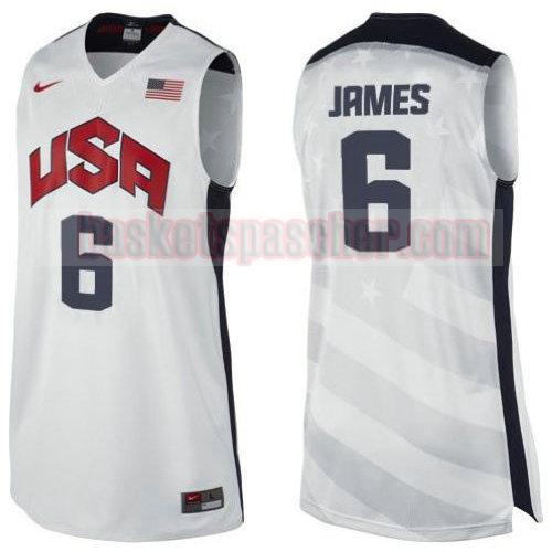 maillot usa 2012 Lebron James 6 homme blanc